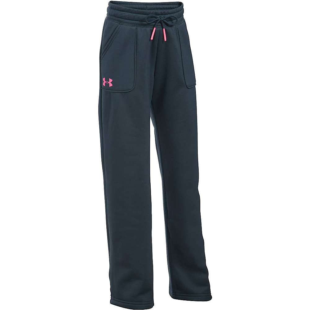 Under Armour Girl's Armour Fleece Boyfriend Pant - Medium - Stealth Grey / Pink Punk