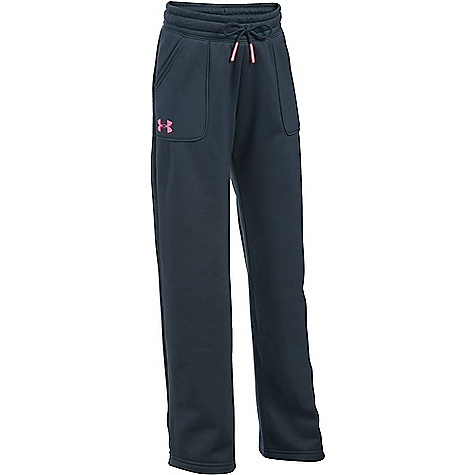 Under Armour Girl's Armour Fleece Boyfriend Pant Stealth Grey / Pink Punk