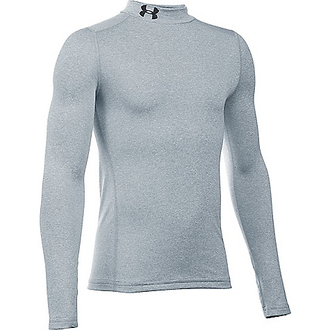 Under Armour Boys' UA ColdGear Armour Mock Neck Top True Grey Heather / Black