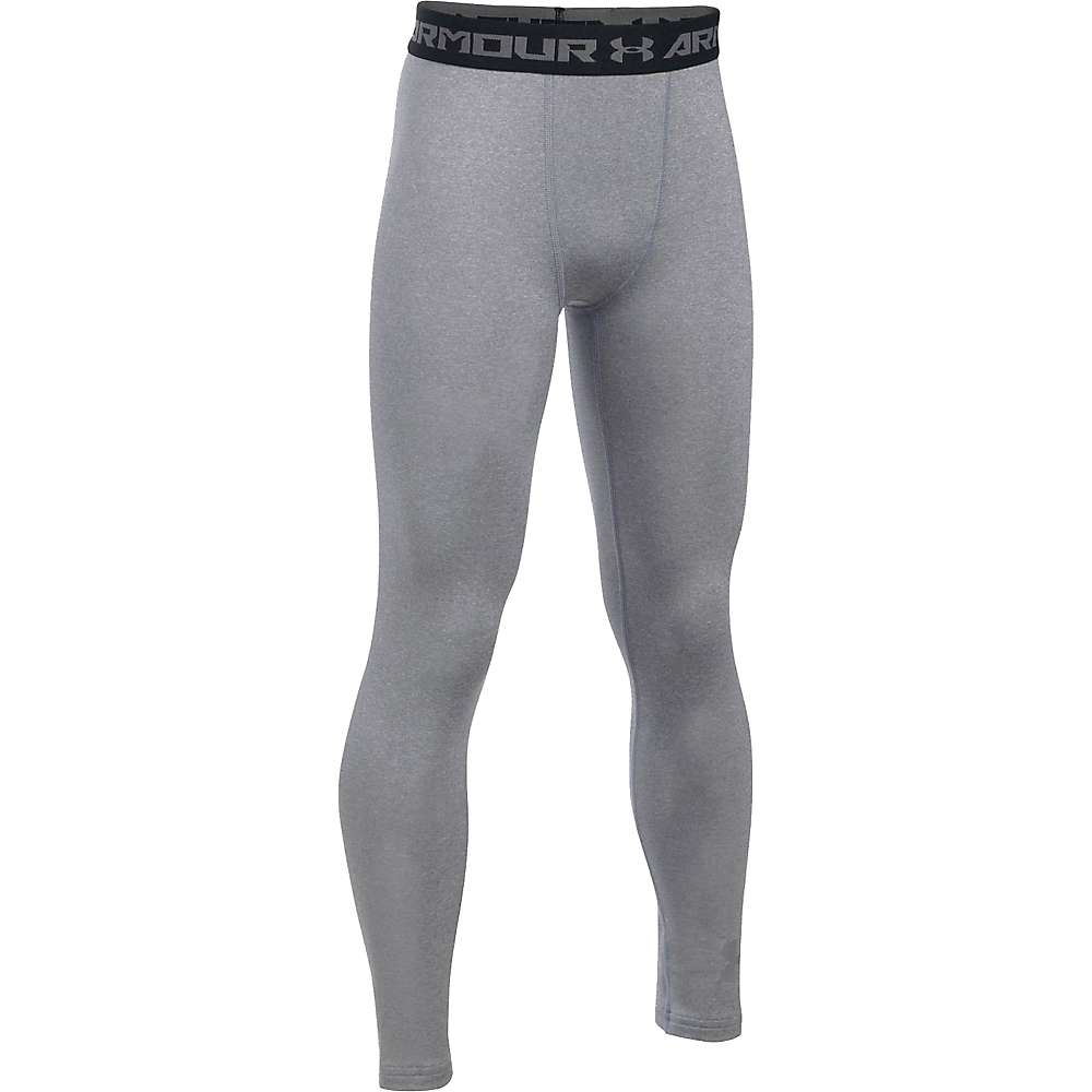 Under Armour Boys' UA ColdGear Armour Legging - XS - True Gray Heather / Reflective