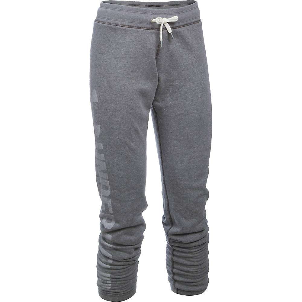 Under Armour Women's Favorite Fleece Pant - Large - Carbon Heather / White