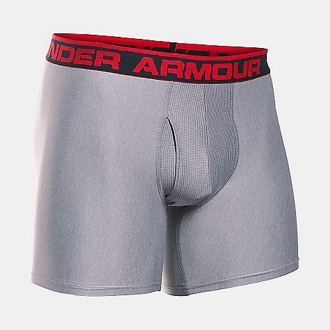 Under Armour Men's Original Series 6 Inch Boxerjock True Grey Heather / Red