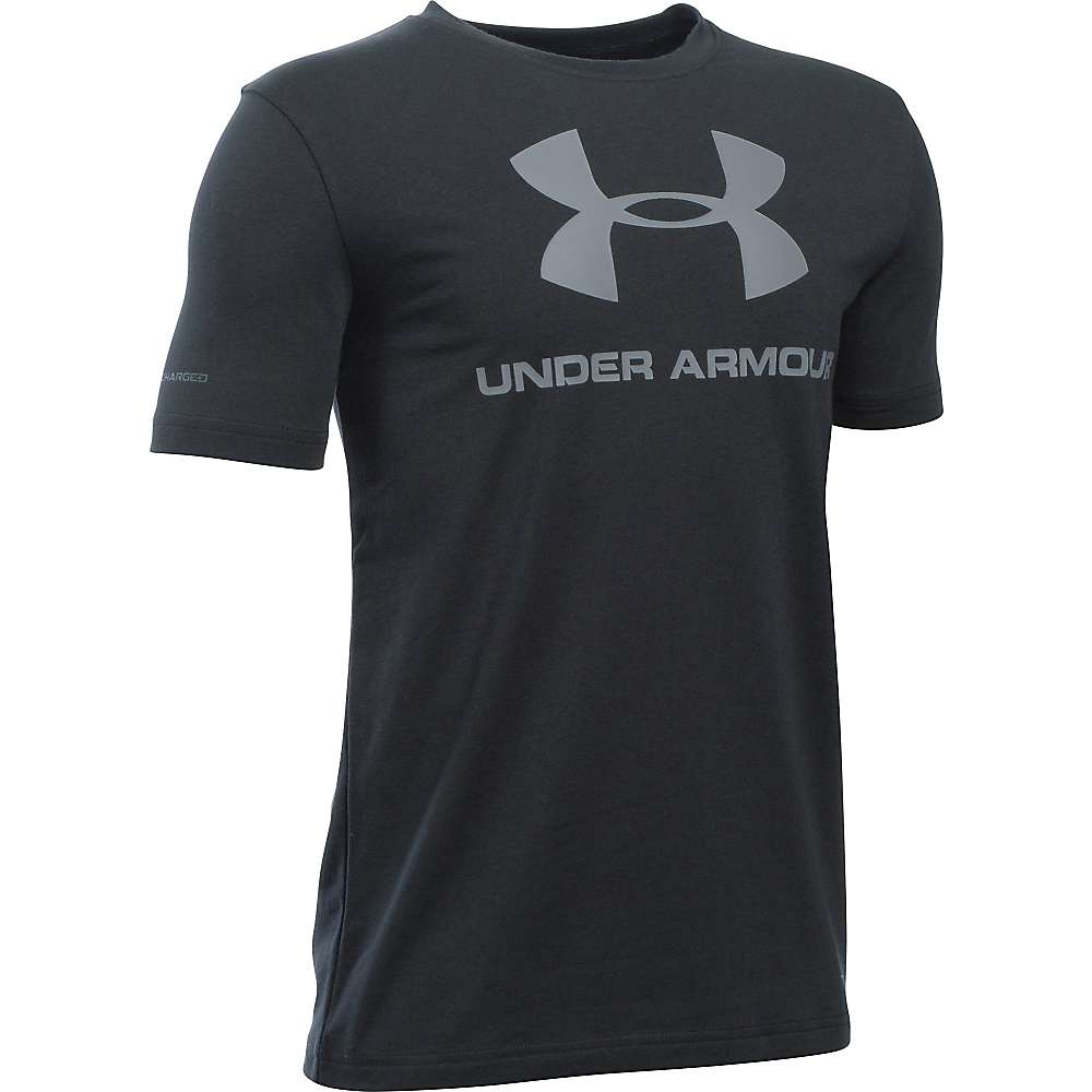 Under Armour Boy's Sportstyle Logo SS Tee - Small - Black / Steel