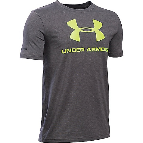 Under Armour Boy's Sportstyle Logo SS Tee Carbon Heather / Fuel Green
