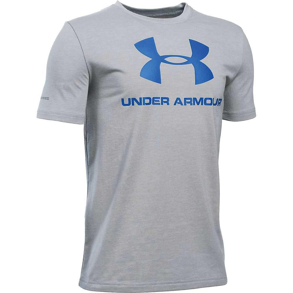 Under Armour Boy's Sportstyle Logo SS Tee - Small - True Grey Heather / Ultra Blue