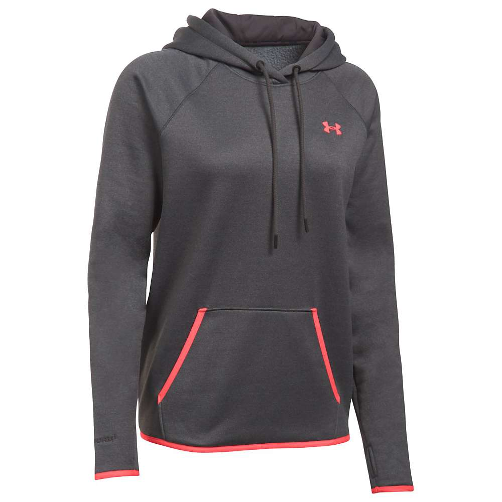 Under Armour Women's UA Storm Armour Fleece Icon Hoodie - XS - Carbon Heather / Pink Shock / Pink Shock