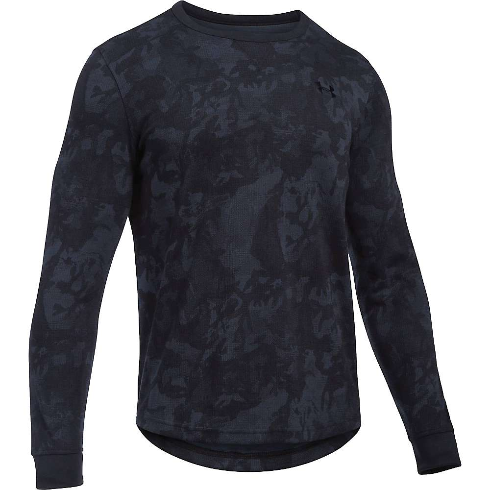 Under Armour Men's Waffle LS Printed Crew - XL - Black / Black