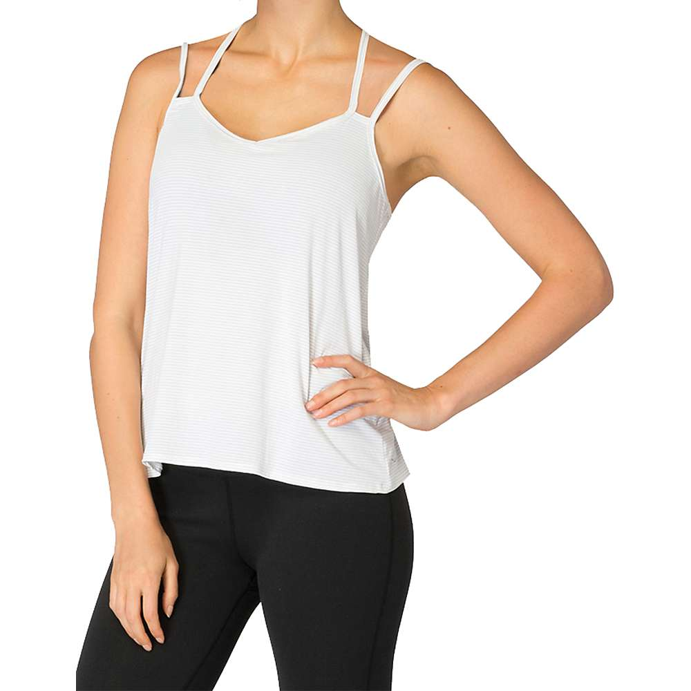 Beyond Yoga Women's Strappy V-Back Cami - Medium - White / Heather Grey Stripe