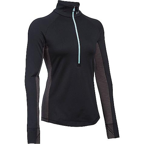Under Armour Women's UA ColdGear Armour 1/2 Zip Top Black / Carbon Heather / Metallic Silver