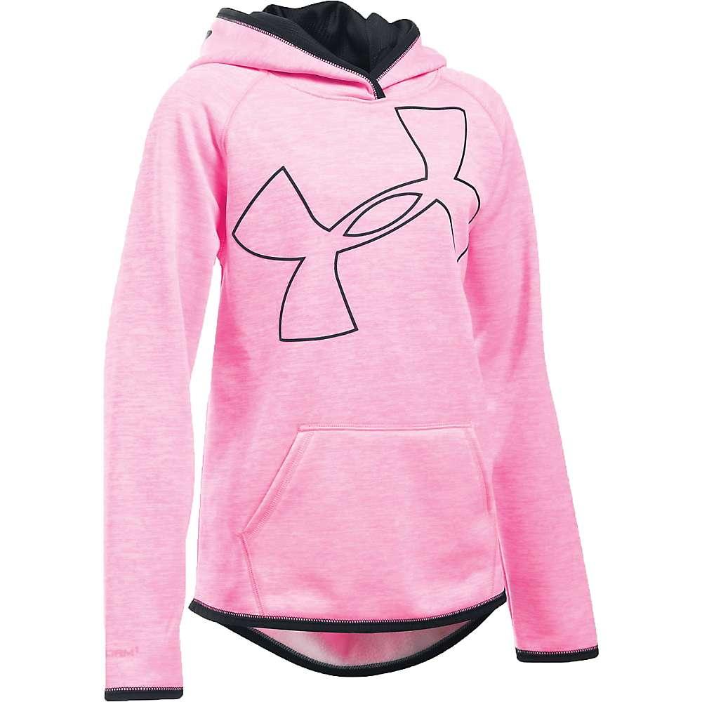 Under Armour Girls' UA Storm Armour Fleece Novelty Big Logo Hoody - XS - Pink Punk / Black / Black