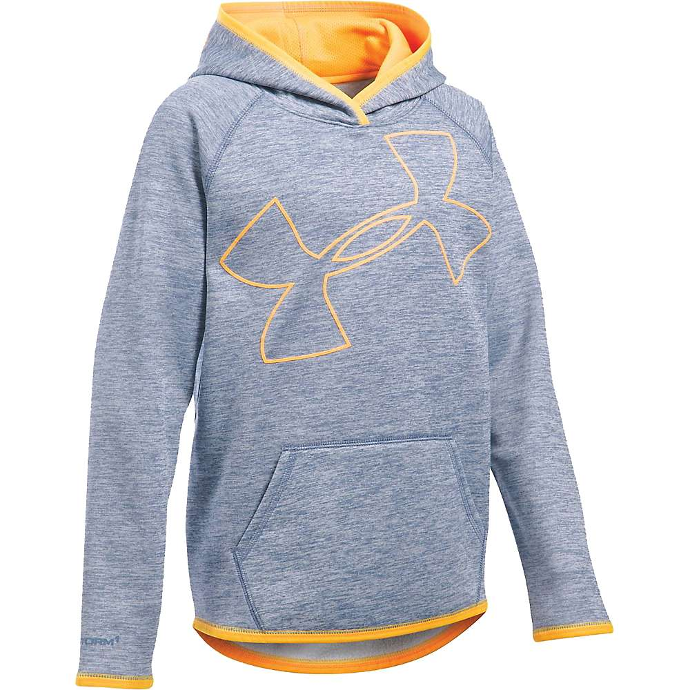 Under Armour Girls' UA Storm Armour Fleece Novelty Big Logo Hoody - Small - Aurora Purple / Mango Orange / Mango Orange