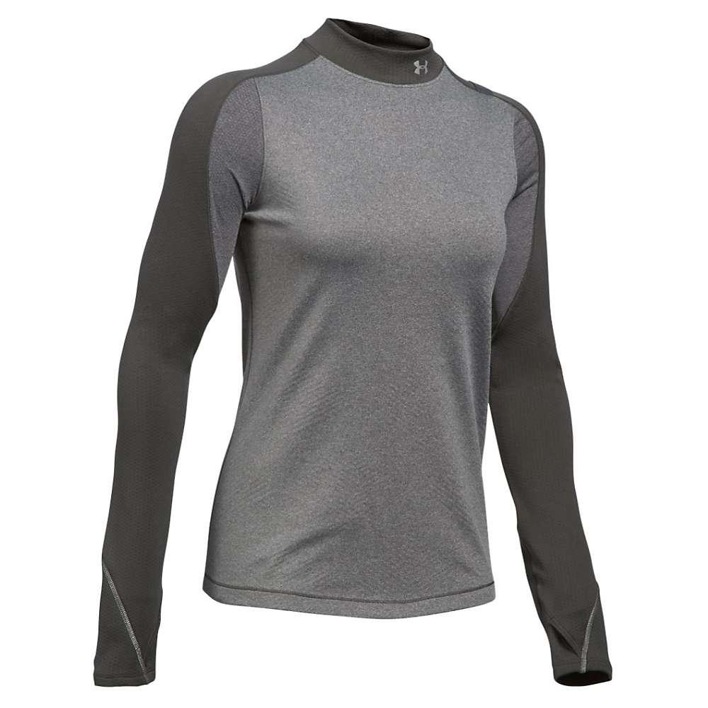 Under Armour Women's ColdGear Armour Elements Mock Neck Top - XS - Carbon Heather / Reflective