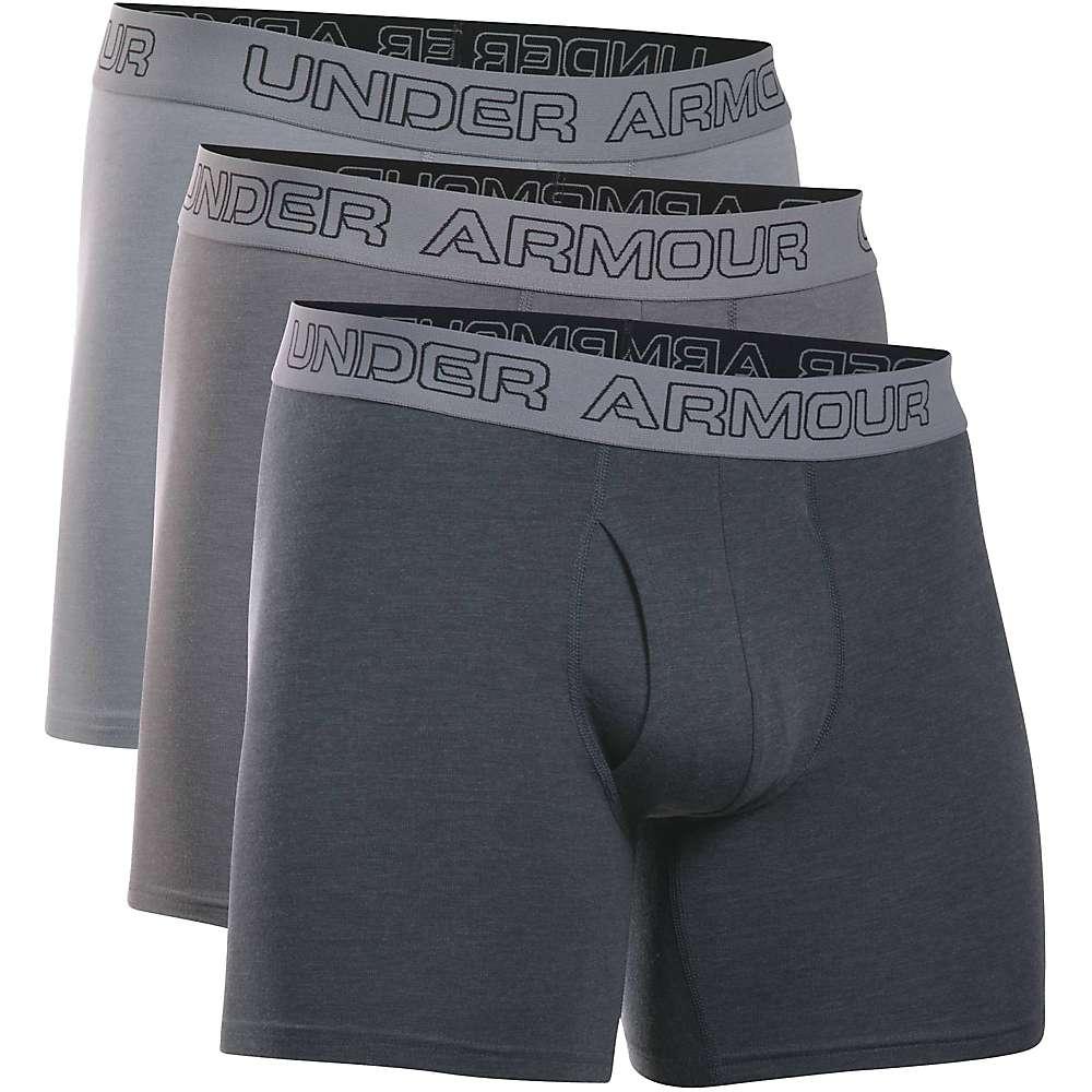 Under Armour Men's Cotton Stretch 6IN Boxer Short - 3 Pack - XXL - Steel / Graphite / Anthracite