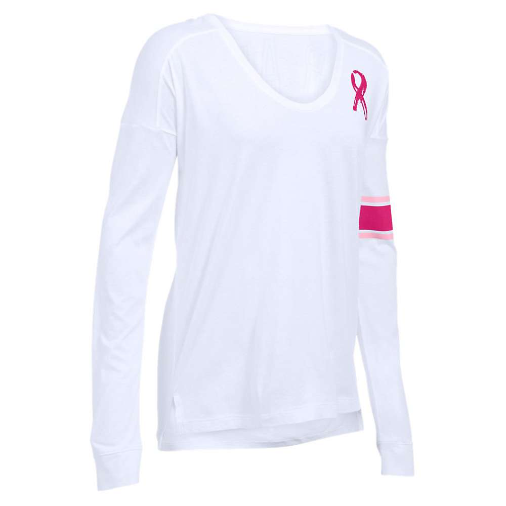 Under Armour Women's Favorite CM PIP LS Top - Large - White / Pink / Tropic Pink