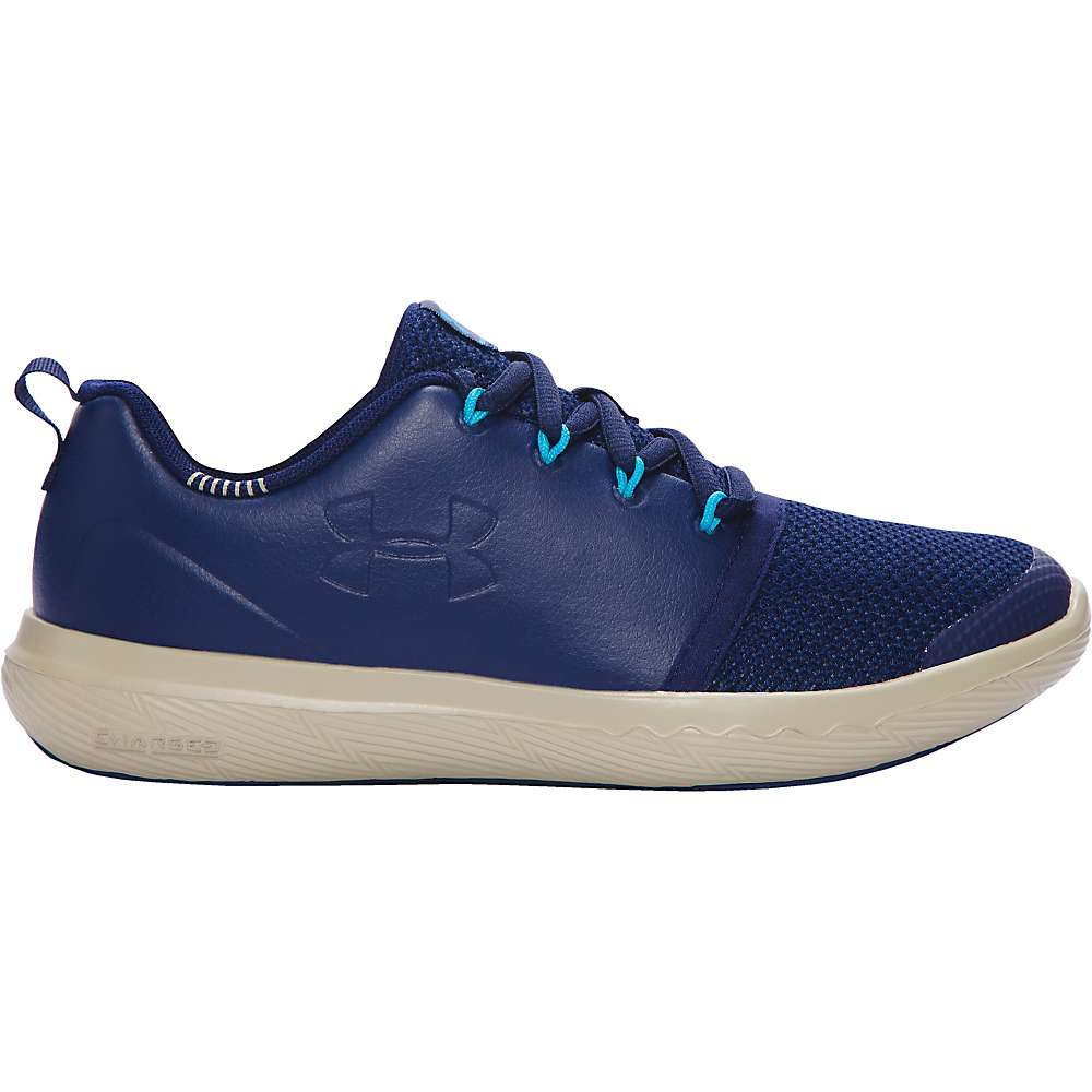 Under Armour Boys' UA BGS 24/7 Low Leather Shoe - 6 - Midnight Navy / Sandstorm / Midnight Navy