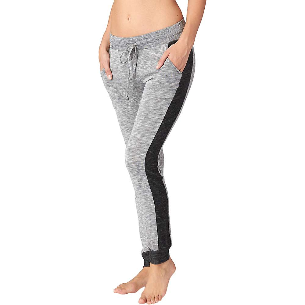 Beyond Yoga Women's Double Face Side Paneled Sweatpant - Large - Heather Grey / Black