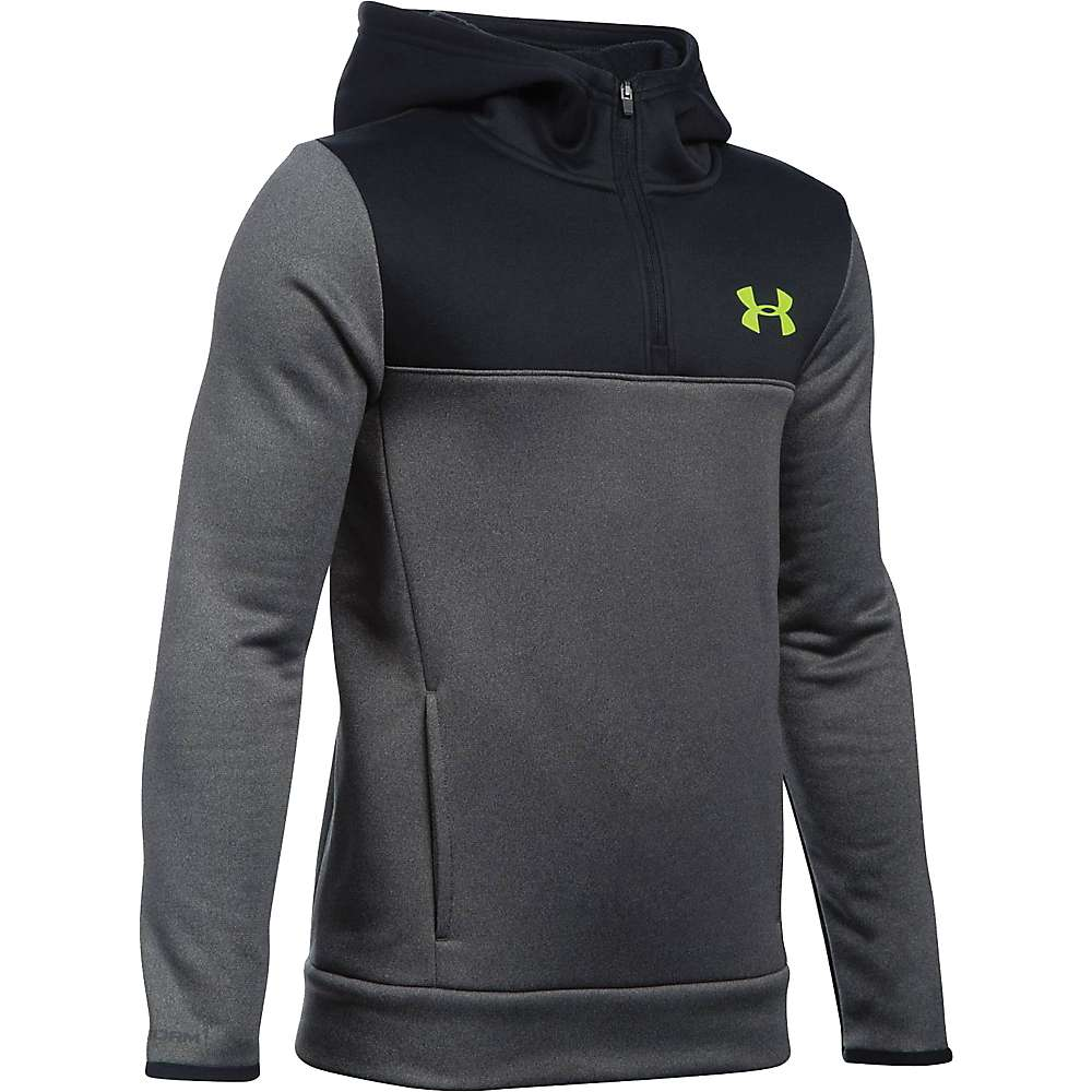 Under Armour Boys' Armour Fleece Storm 1/4 Zip Hoodie - Medium - Carbon Heather / Black / Fuel Green