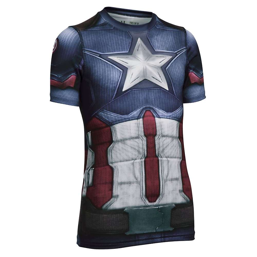 Under Armour Boys' Captain America SS Suit - XL - Midnight Navy / White