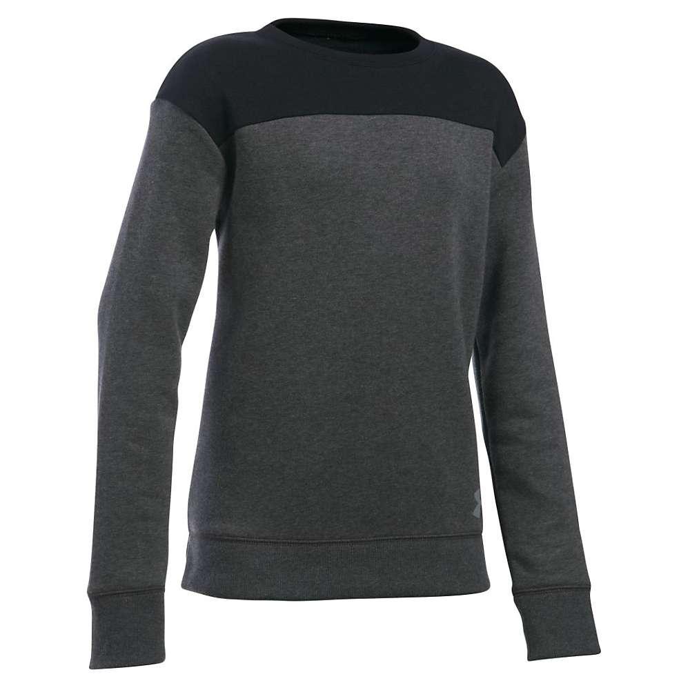 Under Armour Girls' Favorite Fleece Crew - Medium - Carbon Heather / Black / Steel