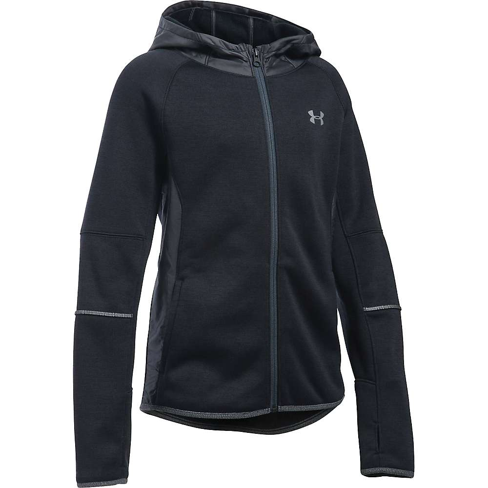 Under Armour Girls' Storm Full Zip Swacket - XS - Black / Black / Reflective
