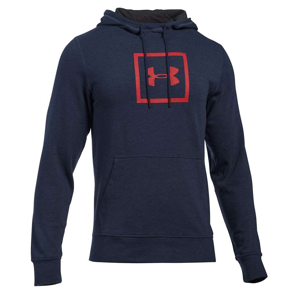 Under Armour Men's Triblend Squared Logo Pullover Hoodie - Small - Midnight Navy / Asphalt Heather / Red