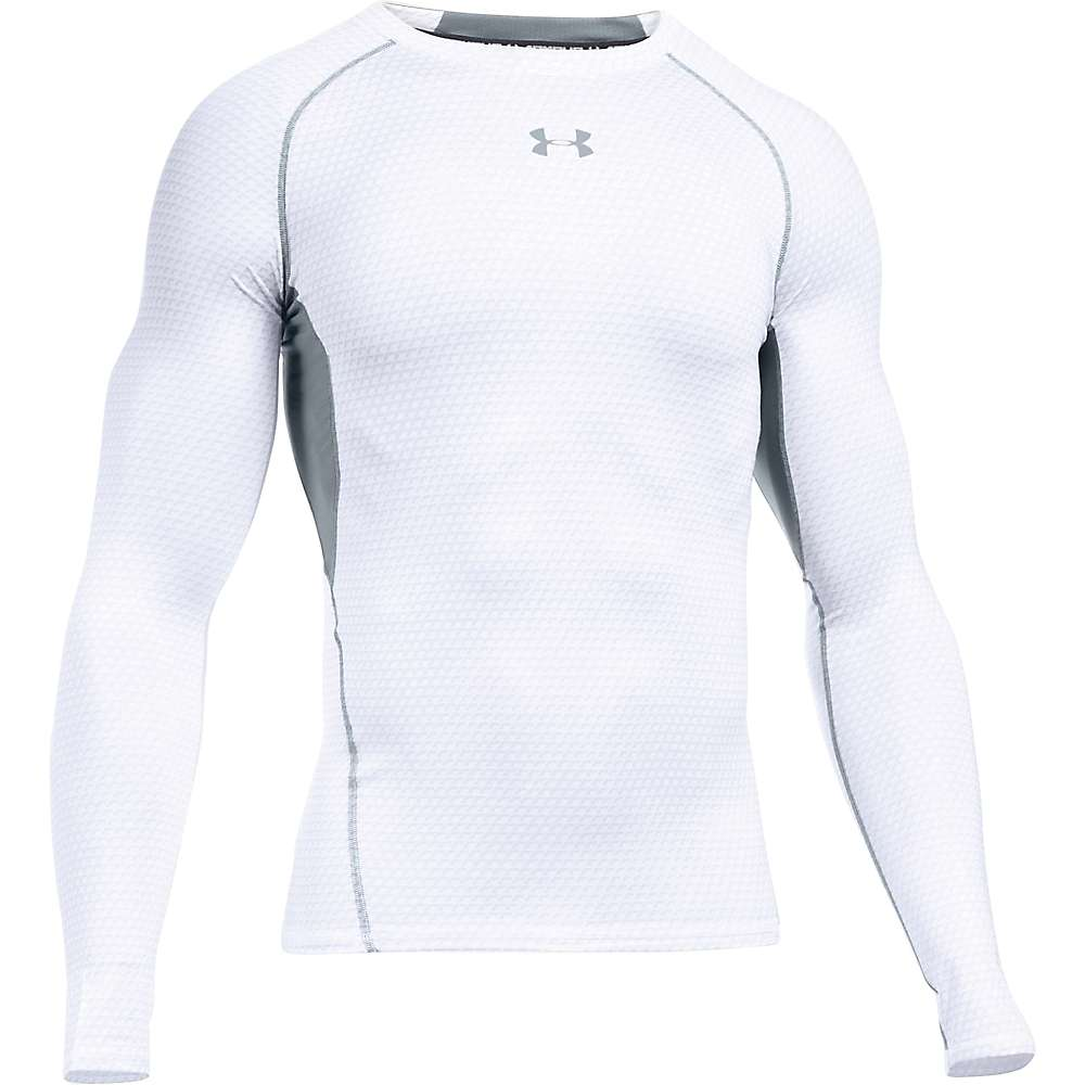 Under Armour Men's UA HeatGear Armour Printed LS Tee - Medium - White / Steel