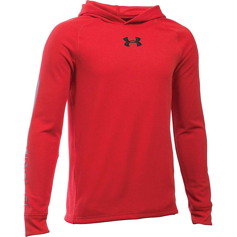 Under Armour Boys' Waffle Hoody - Large - Red / Graphite / Black