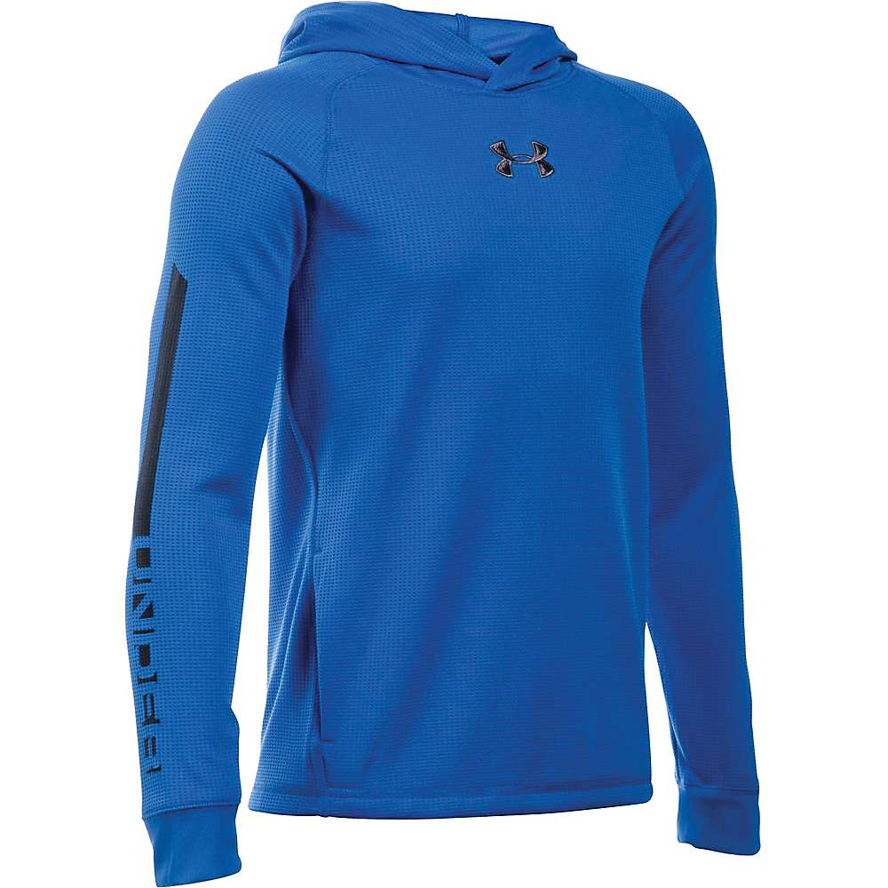 Under Armour Boys' Waffle Hoody - Large - Ultra Blue / Black / Graphite