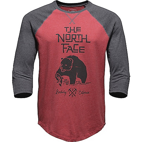 The North Face Men's Grizzly Baseball 3/4 Tee Cardinal Red Heather / Tnf Dark Grey Heather