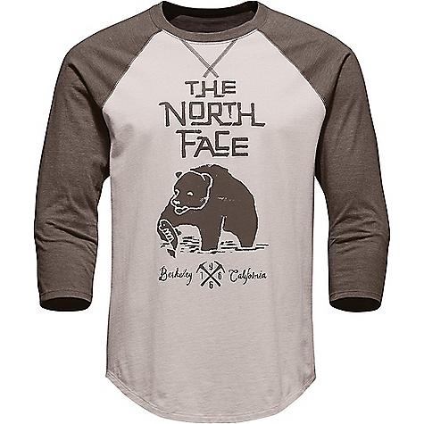 The North Face Men's Grizzly Baseball 3/4 Tee Rainy Day Ivory / Falcon Brown Heather