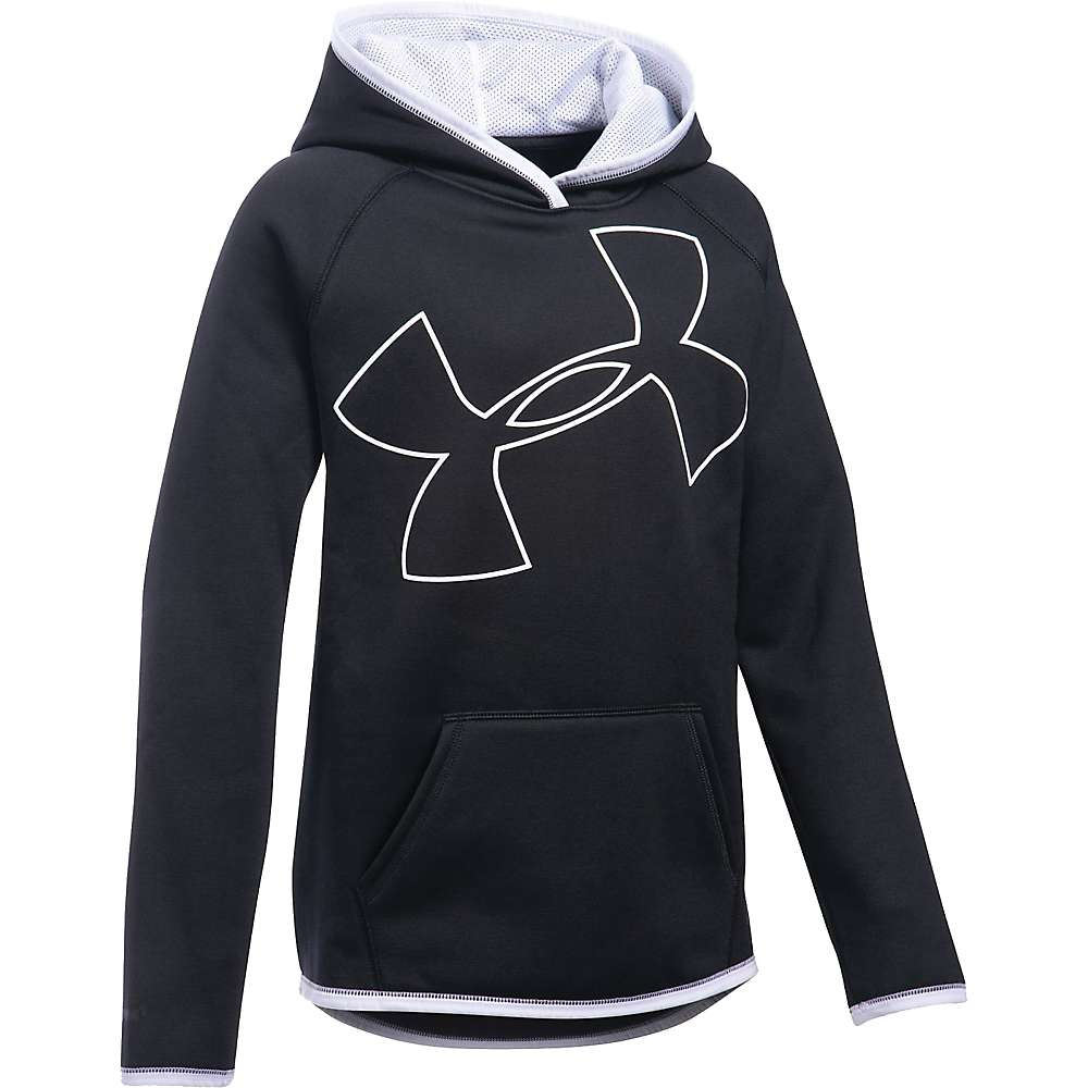 Under Armour Girls' UA Armour Fleece Highlight Hoodie - XS - Black / White / White