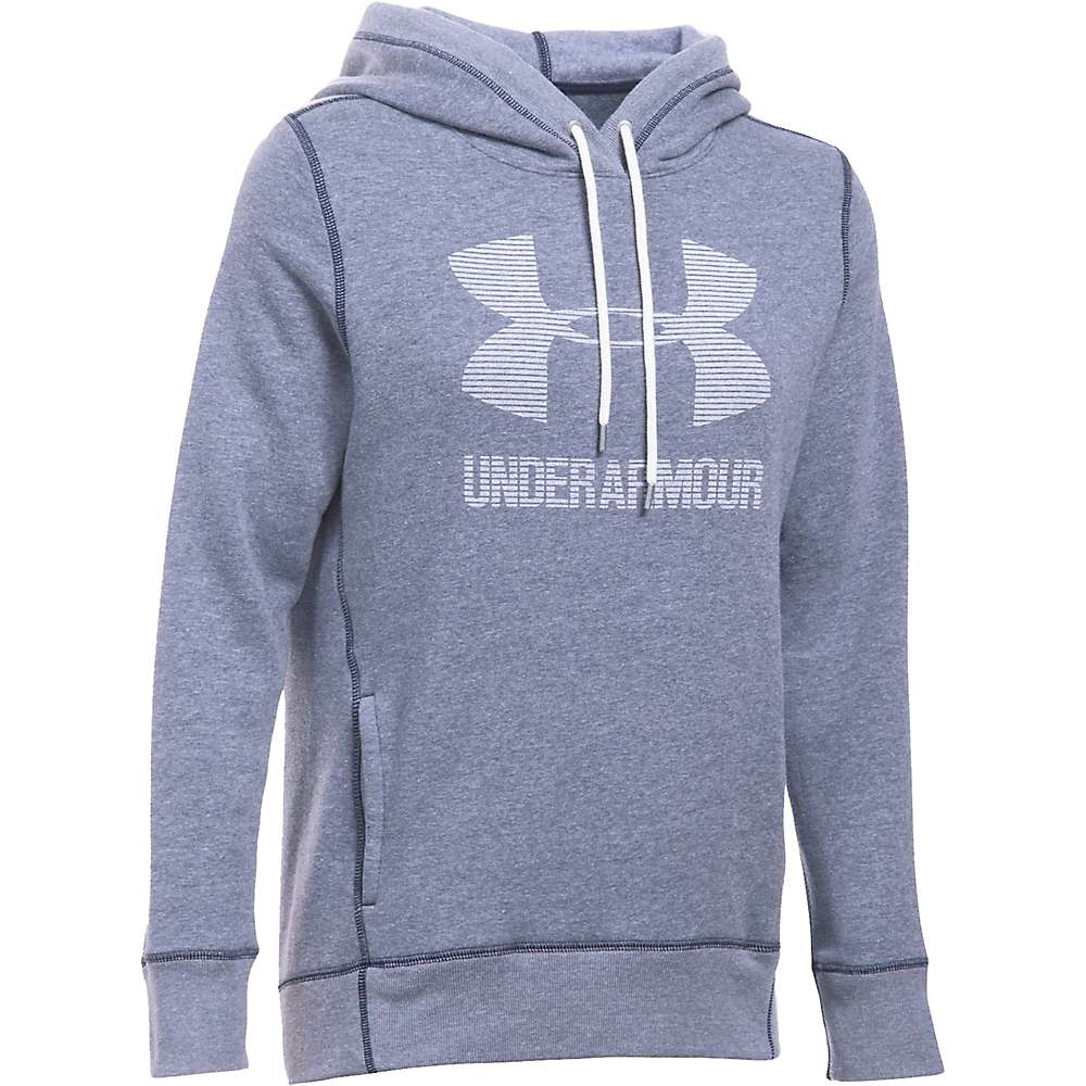 Under Armour Women's UA Favorite Fleece Sportstyle Hoodie - XS - Midnight Navy Light Heather / White / White