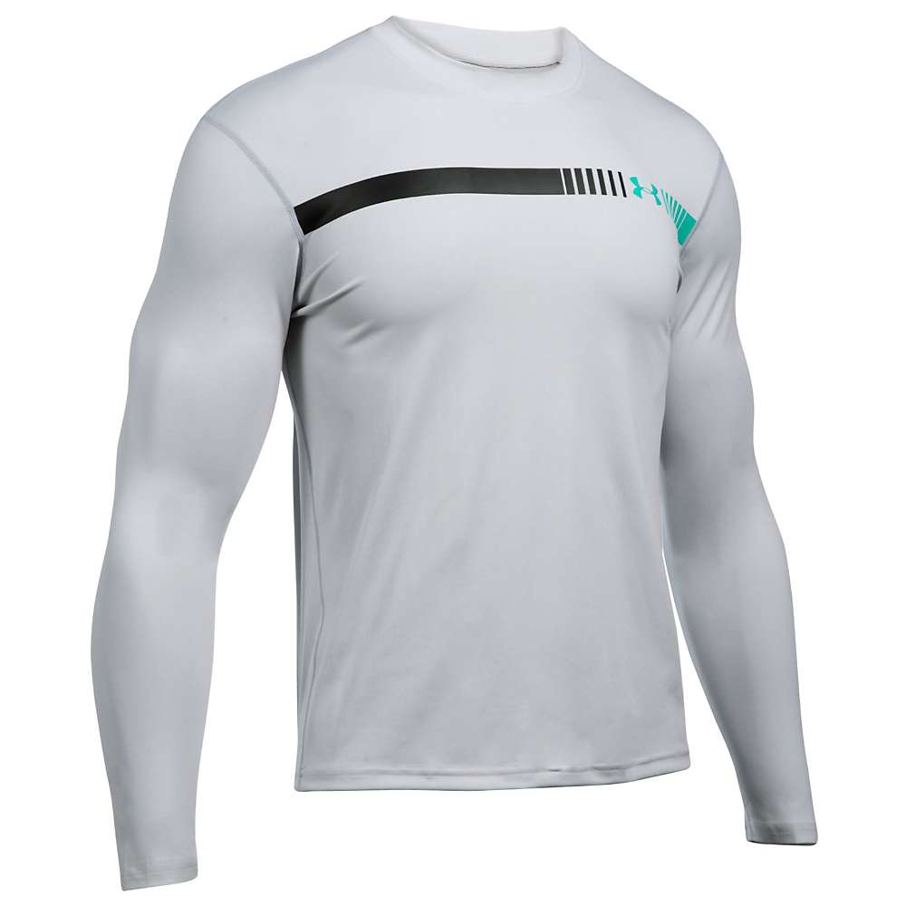 Under Armour Men's UA Threadborne LS Rashguard - Small - Glacier Grey / Overcast Grey / Blackout Navy