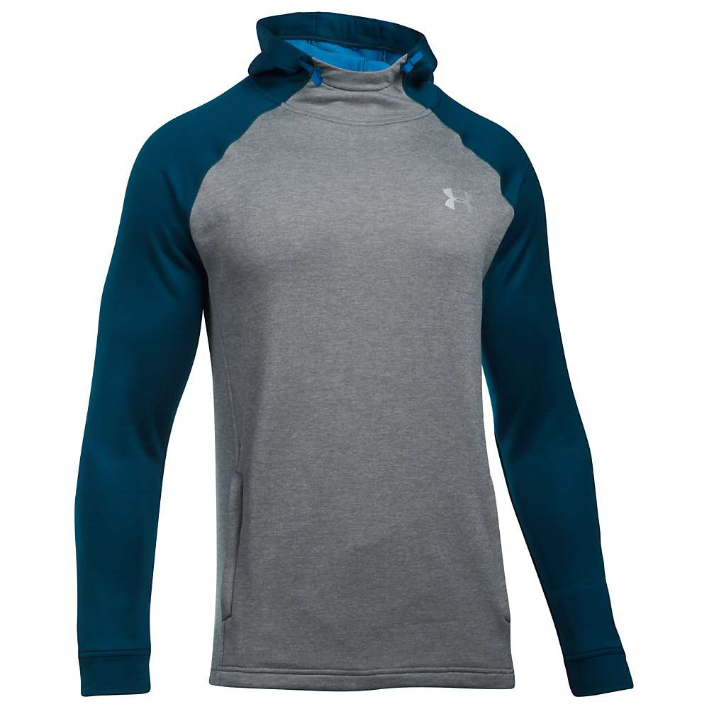 Under Armour Men's UA Tech Terry Popover Hoodie - Medium - True Grey Heather / Fire / Silver