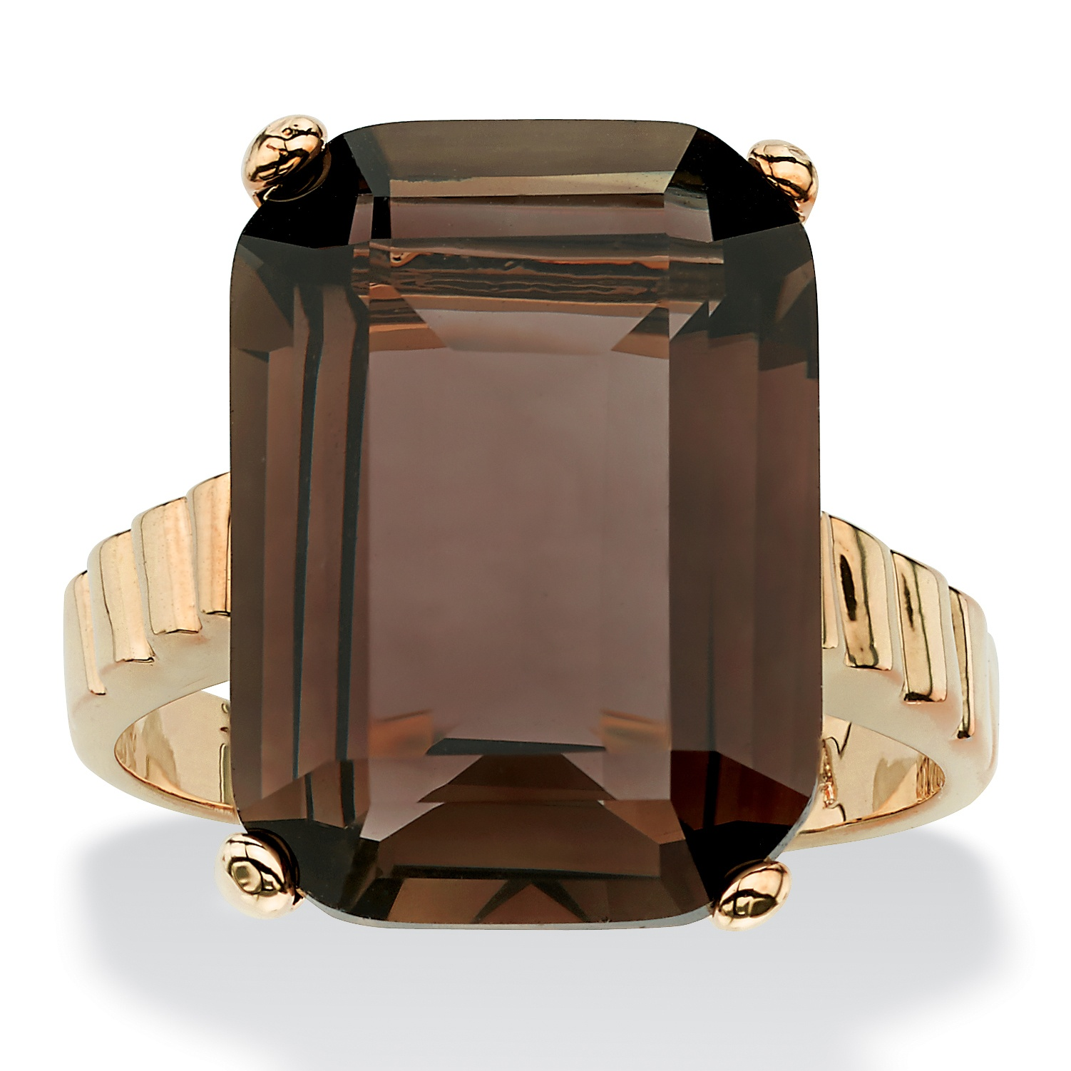 Angelina D'Andrea 10.75 TCW Emerald-Cut Genuine Smoky Quartz 14k Gold-Plated Ring at Sears.com
