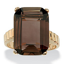 10.75 TCW Emerald-Cut Genuine Smoky Quartz 14k Gold-Plated Ring