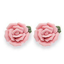 Flower-Shape Ceramic Rose Stud Earrings