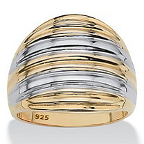 18k Yellow Gold Over Sterling Silver Two-Tone Dome Ring