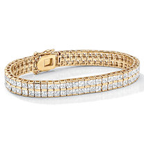 6 TCW Princess-Cut Cubic Zirconia Double-Row Tennis Bracelet in Yellow Gold Tone 7 1/4""