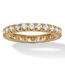 2.40 TCW Round Cubic Zirconia 10k Yellow Gold Eternity Band