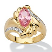 2.05 TCW Marquise-Cut Pink Cubic Zirconia 14k Gold-Plated Ring