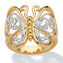 Filigree Butterfly Ring in 18k Gold-Plated