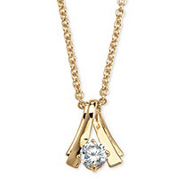 1.08 TCW Round Cubic Zirconia Twist Solitaire Pendant Necklace in Yellow Gold Tone 18""