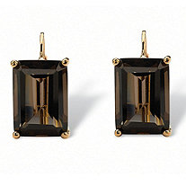 14.50 TCW Emerald-Cut Genuine Quartz 14k Yellow Gold-Plated Drop Pierced Earrings