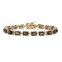 16.00 TCW Emerald-Cut Genuine Smoky Quartz 14k Yellow Gold-Plated Tennis Bracelet 7 1/4""""