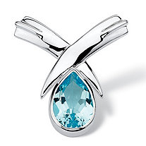 6.50 TCW Pear Cut Blue Genuine Topaz Sterling Silver Slide Pendant