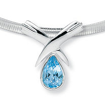 6.50 TCW Pear Cut Blue Genuine Topaz Sterling Silver Slide Pendant and Omega-Link Necklace 16""