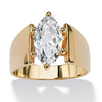 2.48 TCW Marquise-Cut Cubic Zirconia Solitaire Ring in 14k Gold-Plated