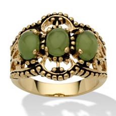 14k Gold-Plated Antiqued Filigree Jade Ring