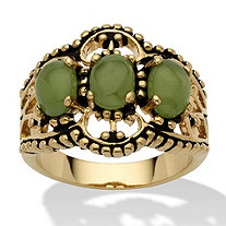 Oval Shaped Green Jade 14k Yellow Gold-Plated Antique-Finish Triple-Stone Filigree Ring